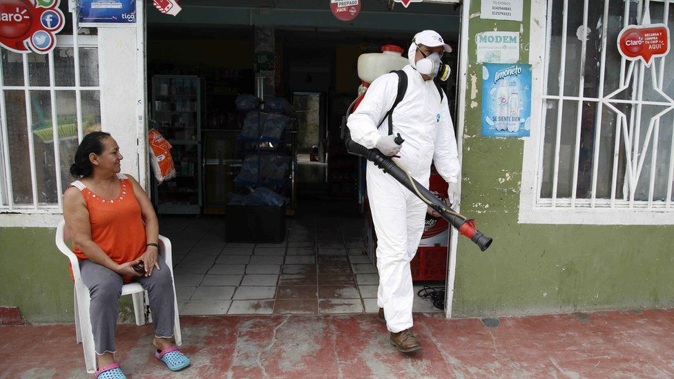 Insecticide to kill mosquitoes sprayed on property in Acacias, Colombia. 4 Feb 2016