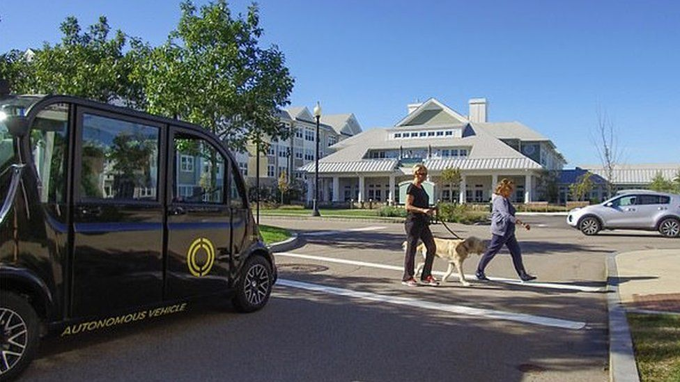 Promotional image of driverless shuttle