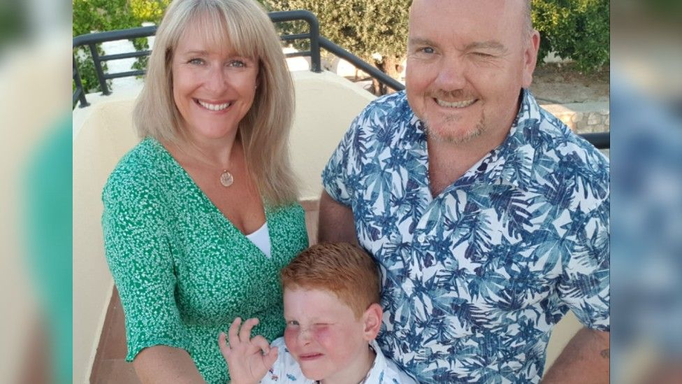 Rachael Foley with son Lewis and husband Mark