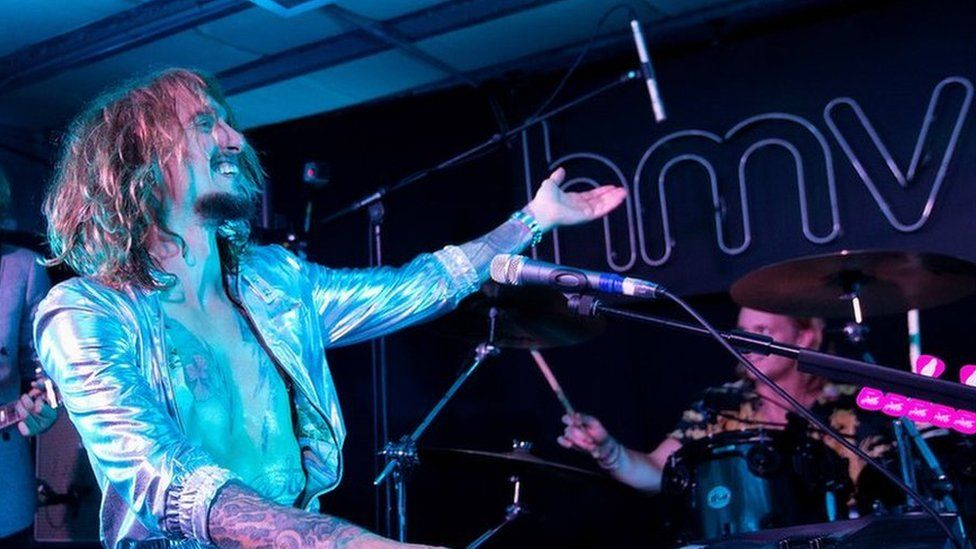 The Darkness performing at HMV's Oxford Street store