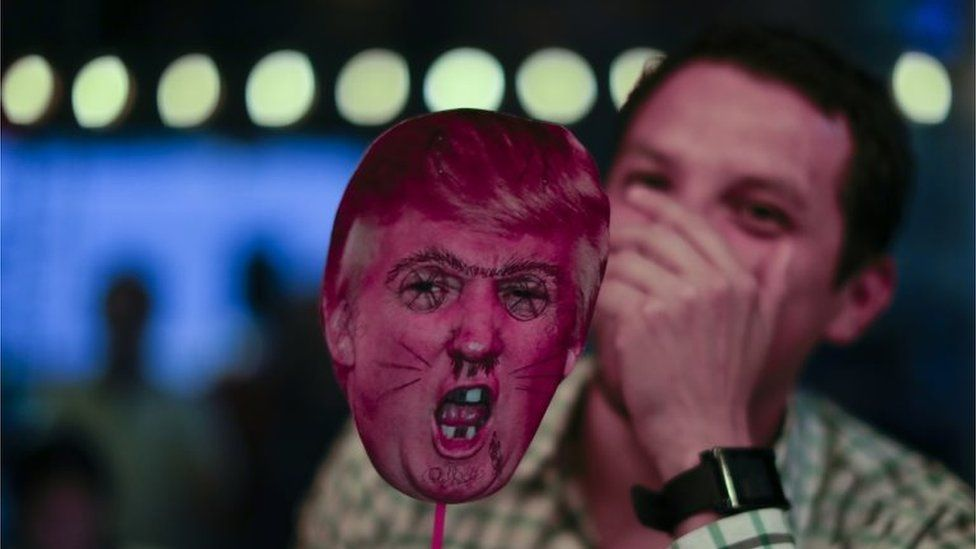 At an election night party in Buenos Aires, one woman showed her dislike of the winner