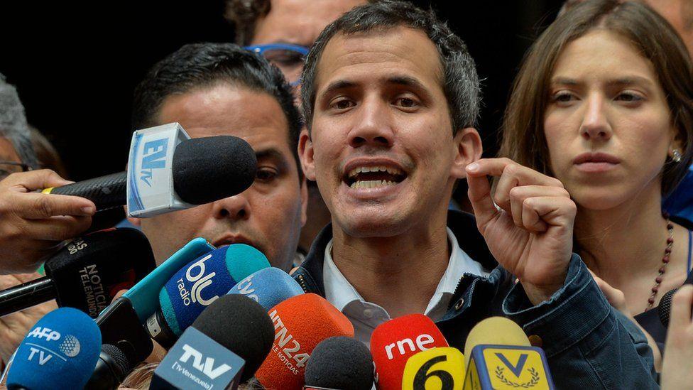 Juan Guaidó at the San Jose church in Caracas on January 27, 2019