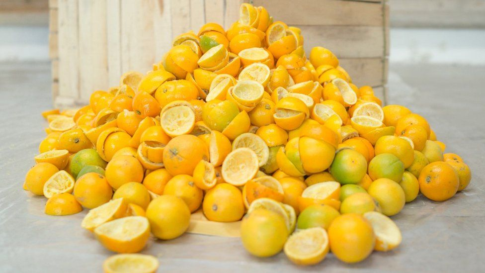 Orange peels after the fruits have been juiced