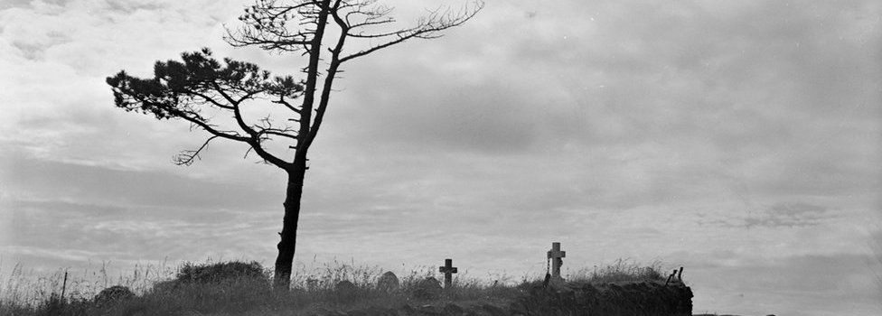 A windswept cemetery in Cornwall