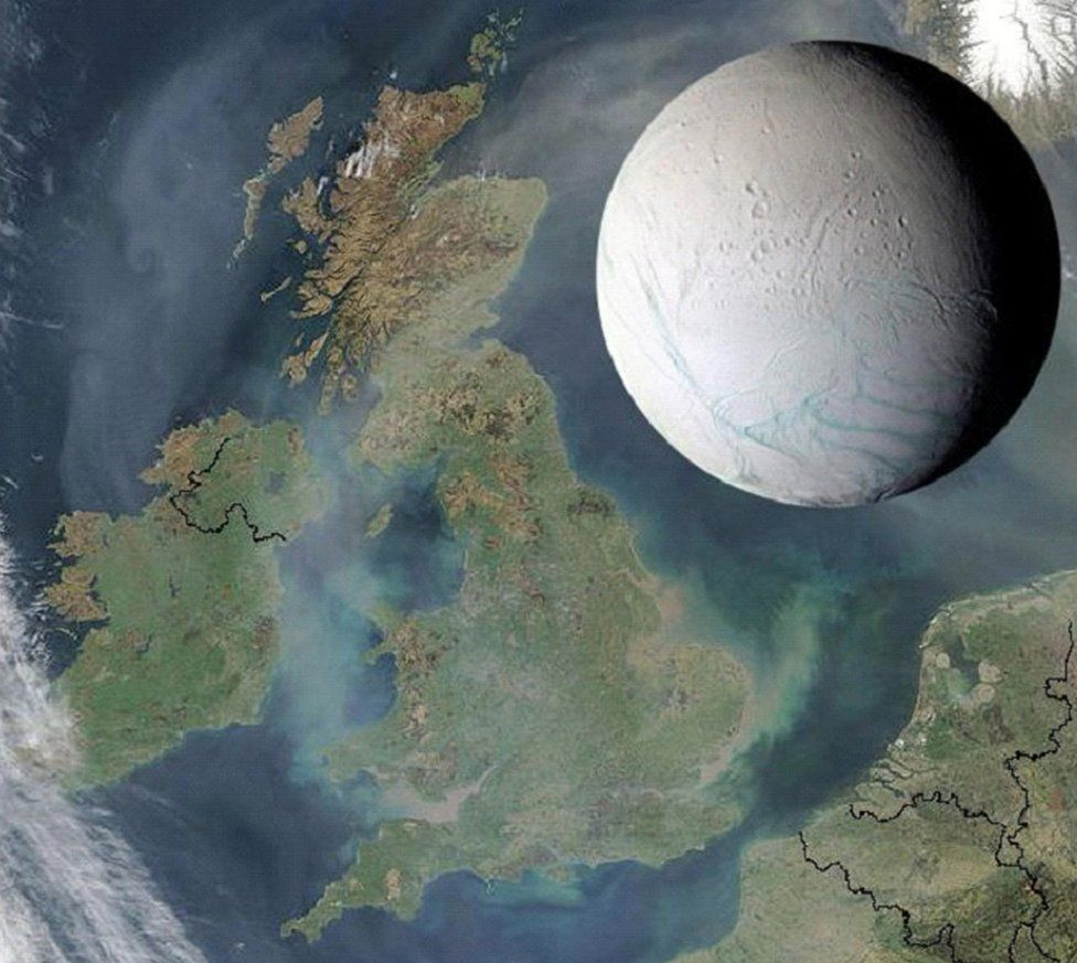 An image of Enceladus next to a satellite map of Great Britain. The moon spans from the top of Scotland to York
