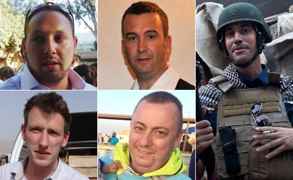 Murdered Western hostages: From top left clockwise, Steven Sotloff, David Haines, James Foley, Alan Henning, Abdul Rahman Kassig
