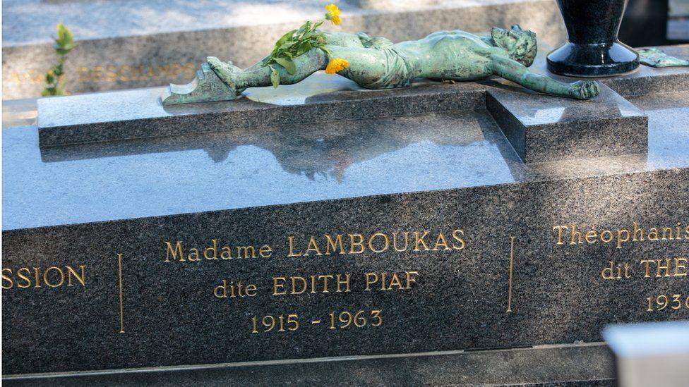 Edith Piaf's grave in Pere Lachaise, Paris