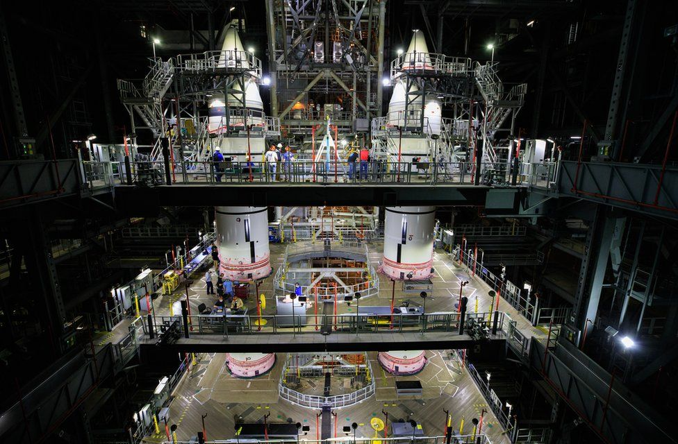 Engineers have finished assembling the twin solid rocket boosters