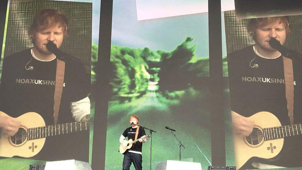 Ed Sheeran on stage at the Biggest Weekend in Swansea