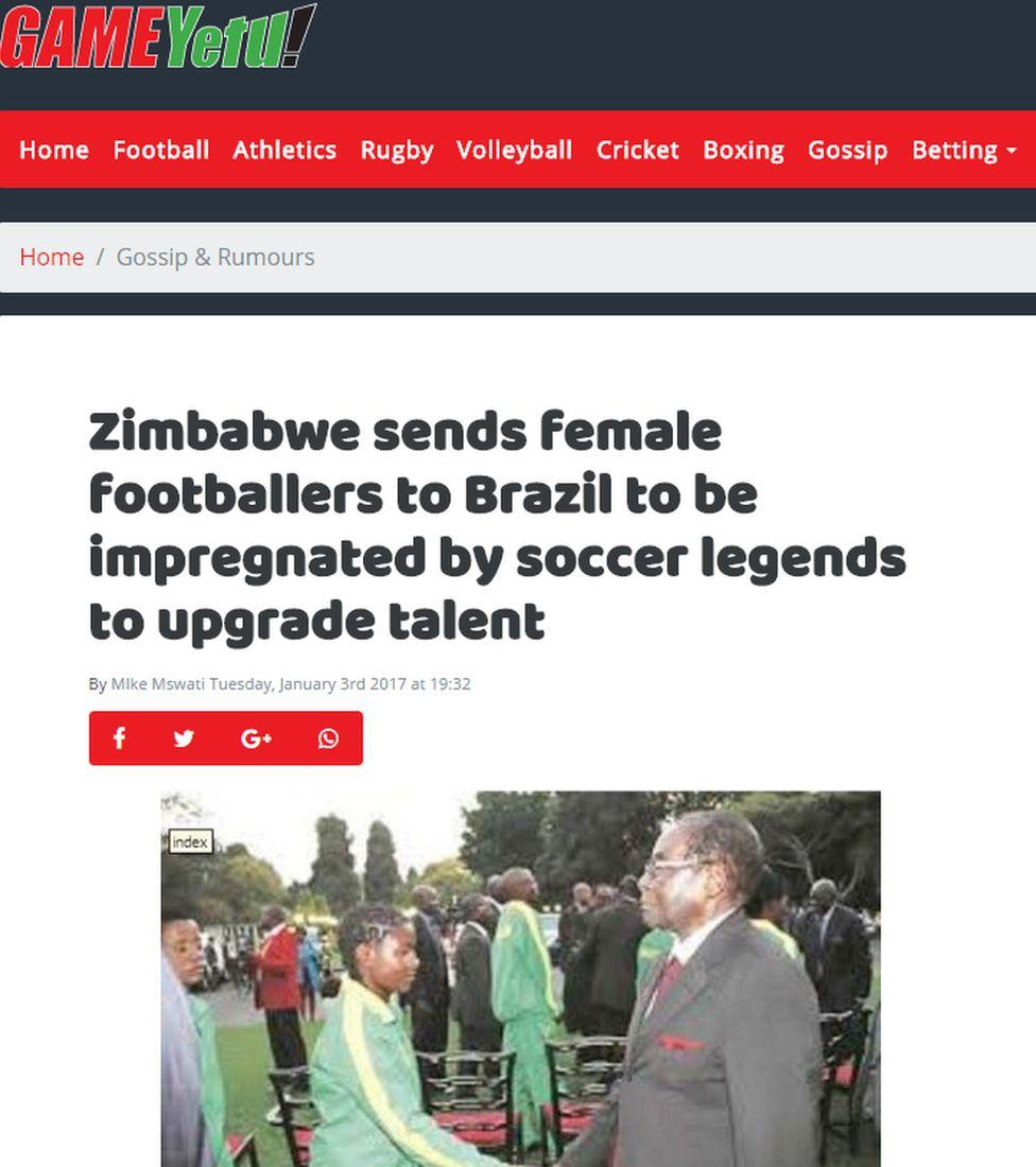 Game Yetu story about Zimbabwe sending female footballers to Brazil