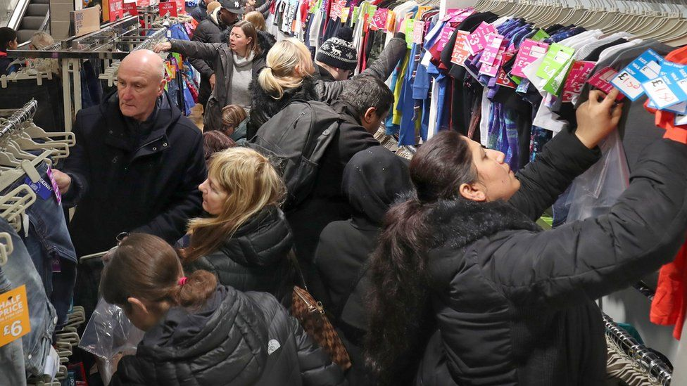 Shoppers looking for bargains in Next, Edinburgh