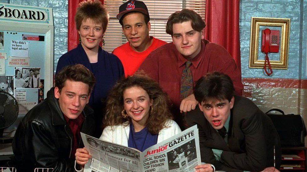 Dexter Fletcher with other members of the Press Gag cast