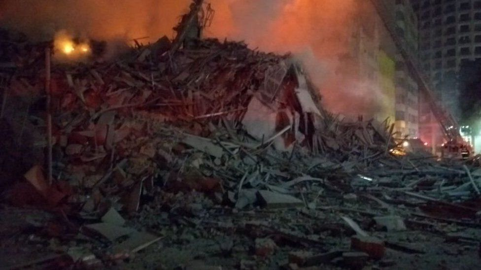 View of rubble after a building collapsed in Sao Paulo
