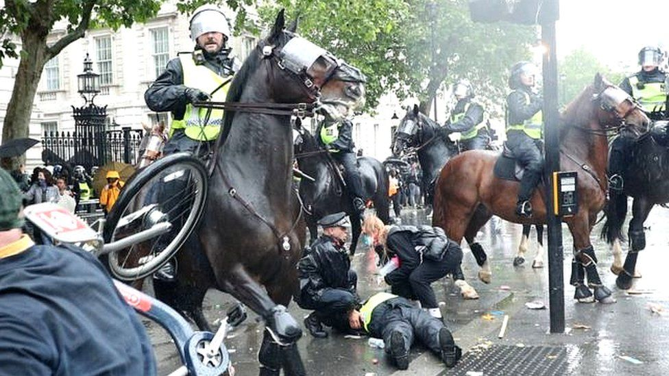 Fourteen police officers were injured during protests in London on Saturday