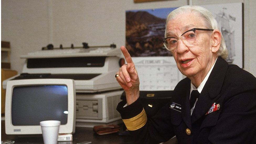 US Navy Commodre Grace Hopper in her office during the 1980s