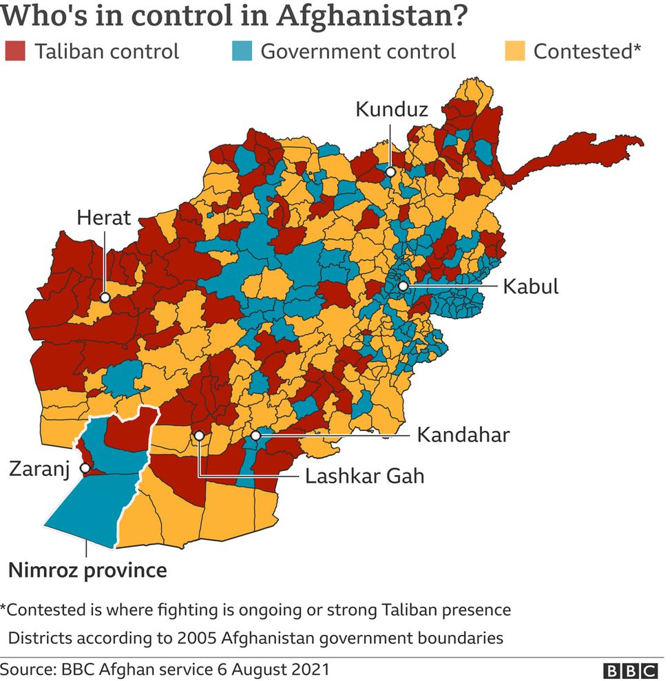 A map showing who's in control of Afghanistan