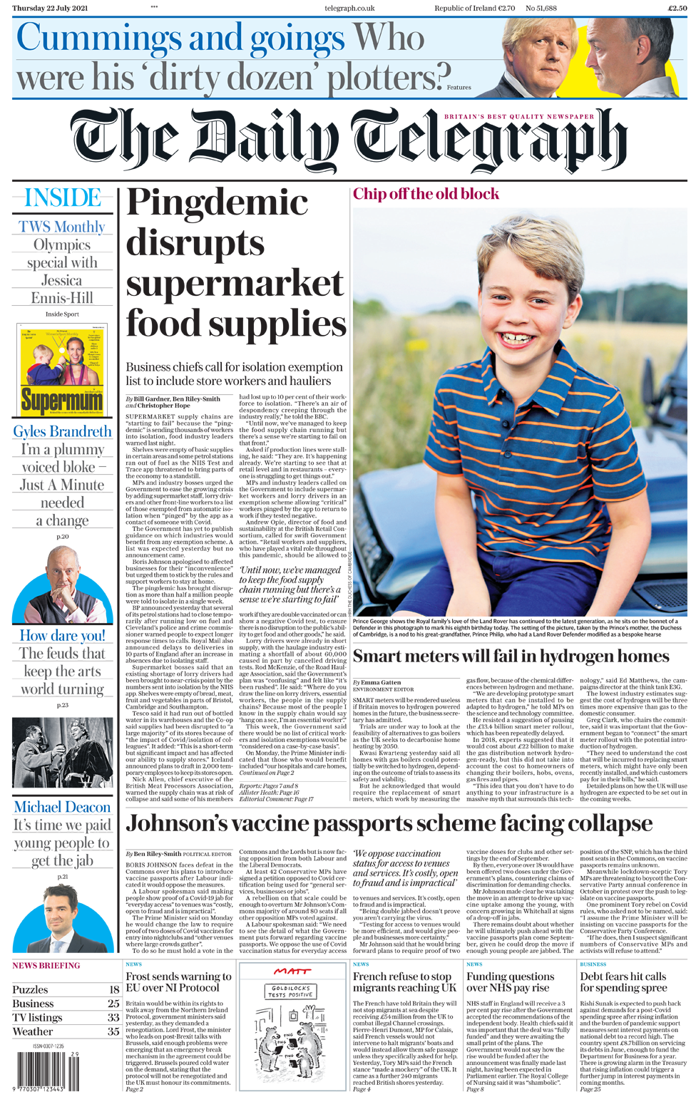 Daily Telegraph front page 22/07/21