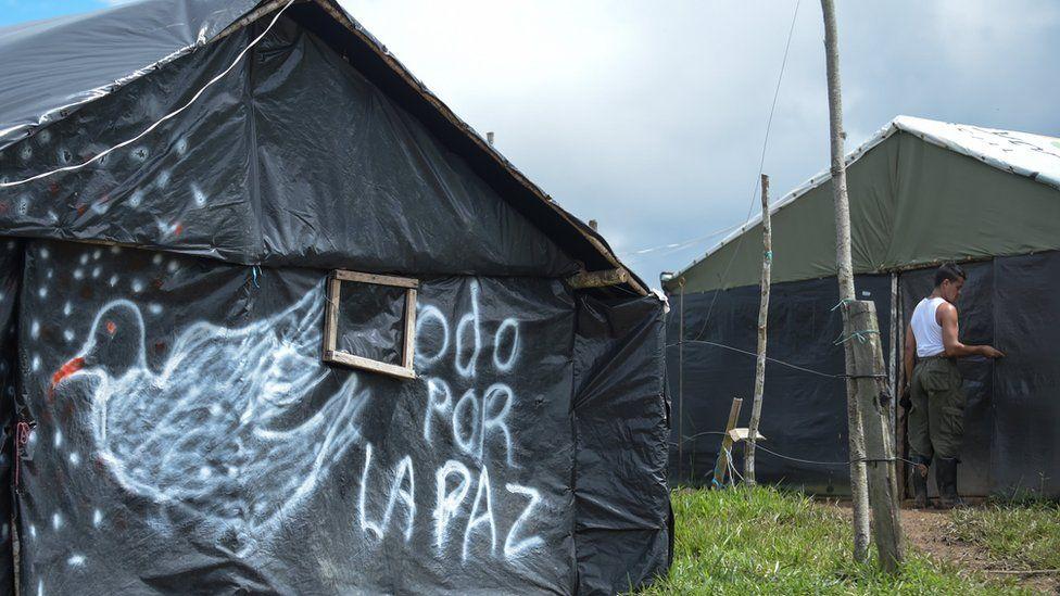 FARC rebels' tents in Mesetas