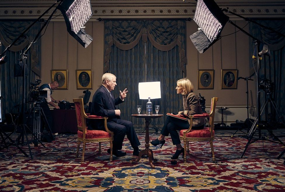 """BBC photo showing the Duke of York (Prince Andrew), speaking for the first time about his links to Jeffrey Epstein in an interview with BBC Newsnight""""s Emily Maitlis"""