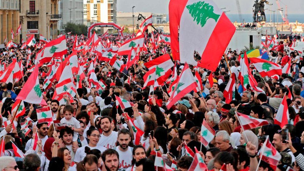 Lebanese demonstrators gather in Beirut's Martyr Square during a gathering on Lebanon's Independence Day on November 22, 2019