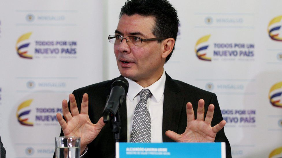 Colombia Health Minister Alejandro Gaviria at press conference in Bogota. 5 February 2016