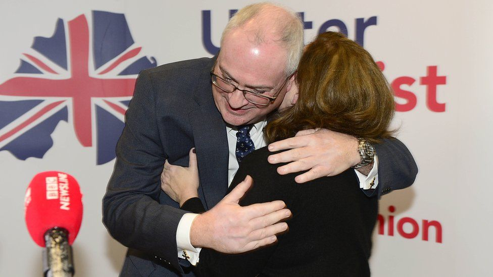 Steve Aiken embraces his wife at his ratification as party leader