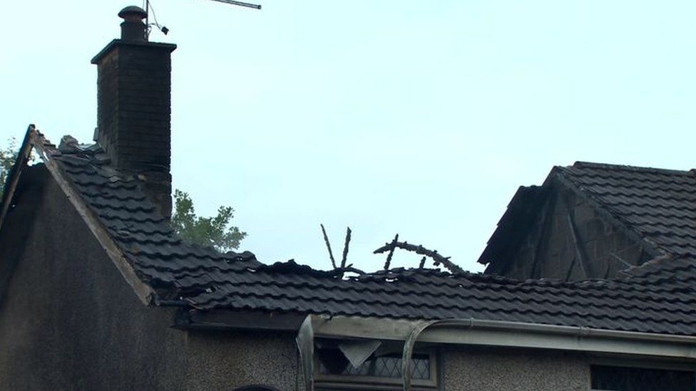 Fire damage to roof of house