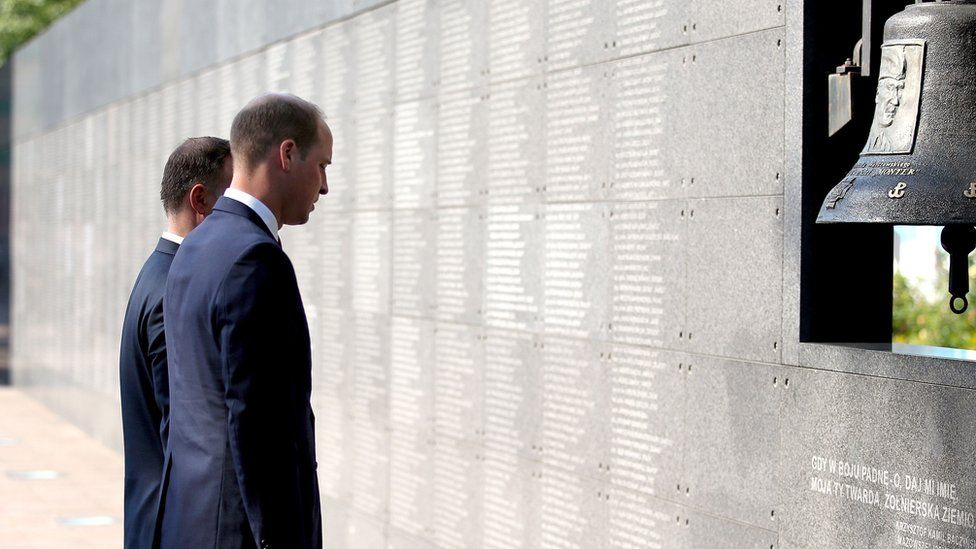 The president and the duke paid their respects at the wall of remembrance