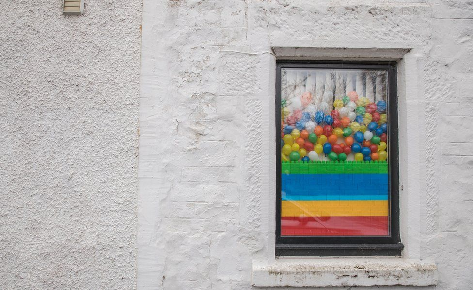 Rainbow colours in a window