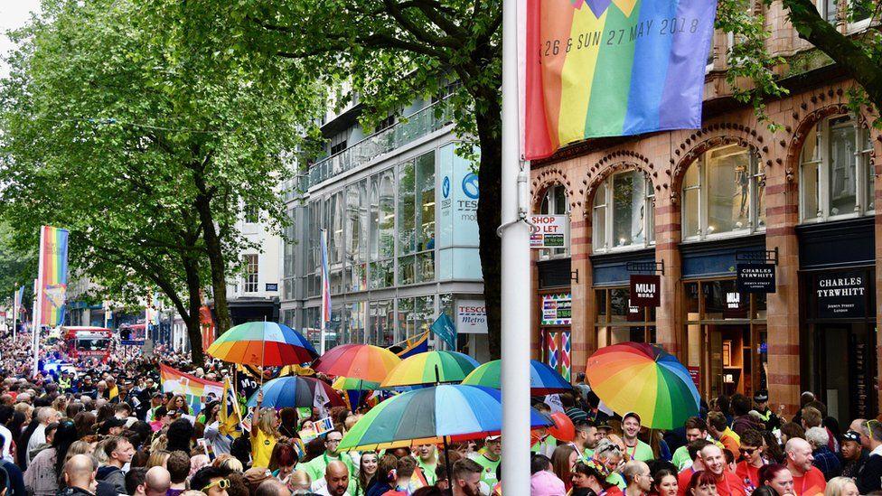 New Street crowds watching Birmingham Pride