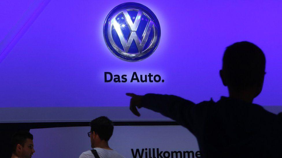 Volkswagen's show floor at the 2015 IAA Frankfurt Auto Show on September 22, 2015 in Frankfurt, Germany