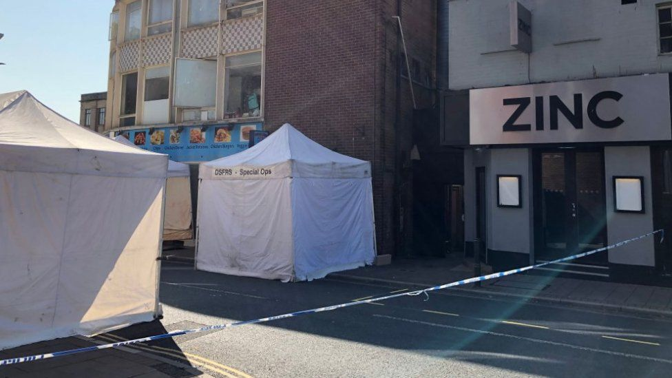 Investigation scene in Exeter city centre