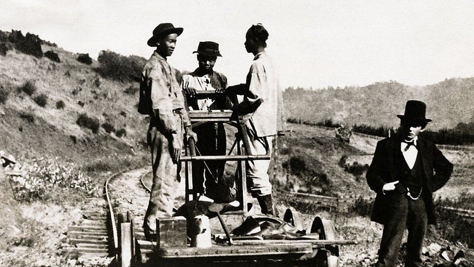 Archival image showing Chinese immigrant railroad workers