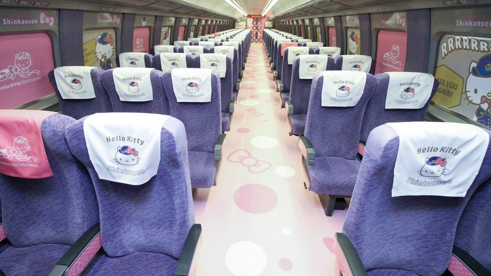 The interior of a Shinkansen train adorned with images of popular character Hello Kitty
