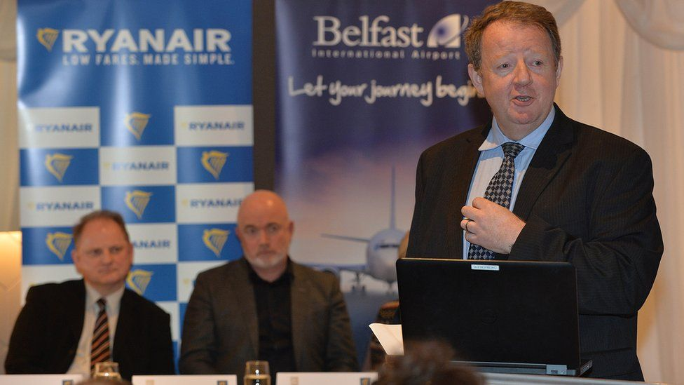 Graham Keddie speaking at the press conference announcing Ryanair's new base at Belfast International Airport