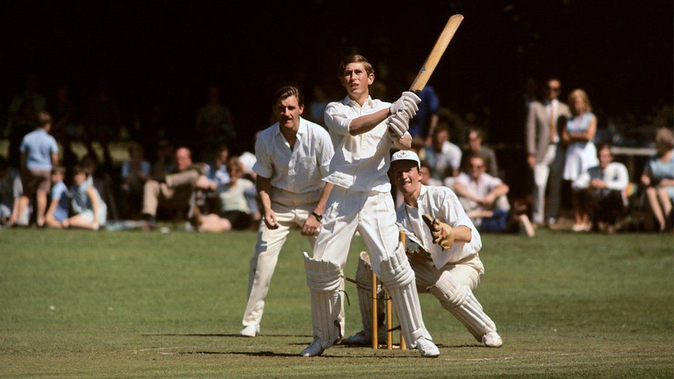 Prince Charles batting for Lord Brabourne's XI against a team of grand prix drivers