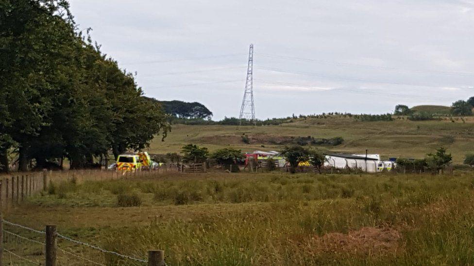Emergency vehicles at scene