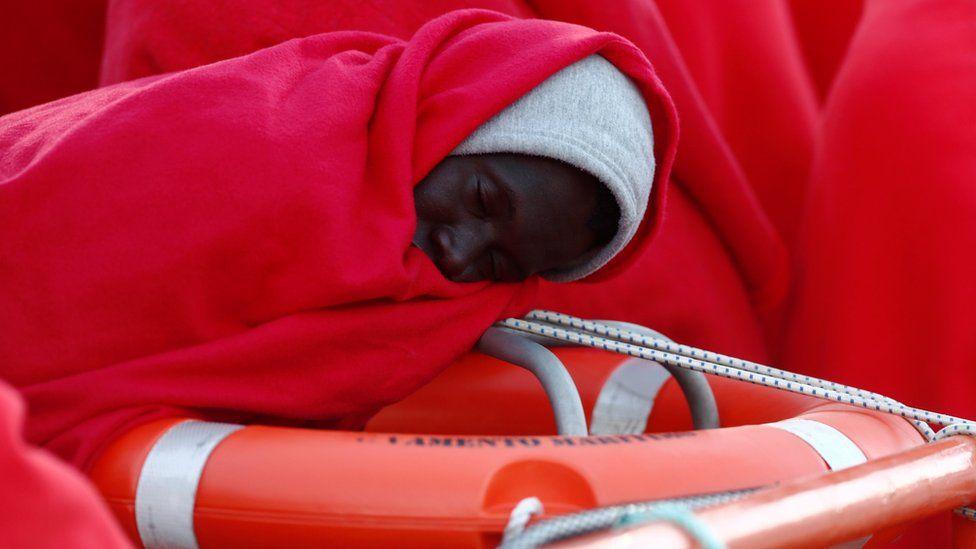 Migrants arriving in Spain