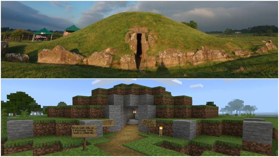 Bryn Celli Ddu burial chamber for real - and in Minecraft
