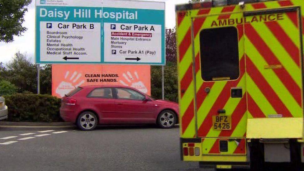 An ambulance outside Daisy Hill Hospital