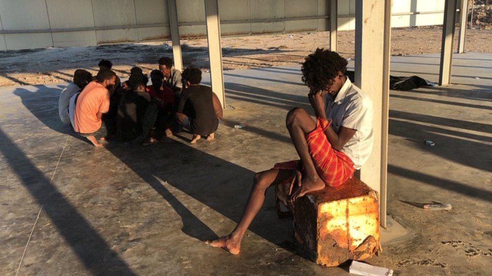 Rescued migrants in Libya on 25 July 2019