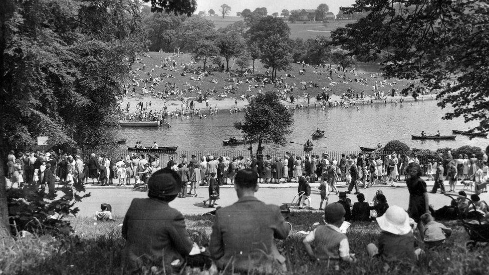 Waterloo Lake, Roundhay Park, taken by Thomas Trigg on Whit Monday 1944