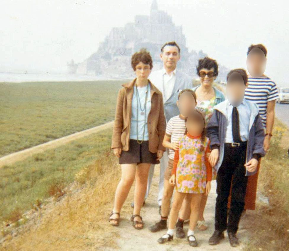 Margo, pictured after her nose job and abortion, with her family (two of her sisters have by now left home) on holiday in Jersey, 1969
