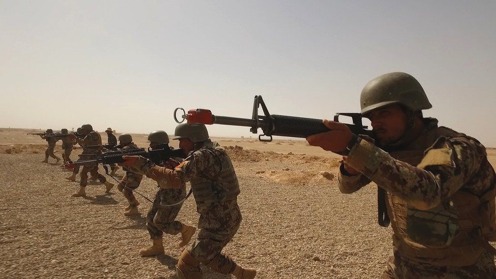 Troops from the Afghan National Army undergo training in Helmand province, Afghanistan