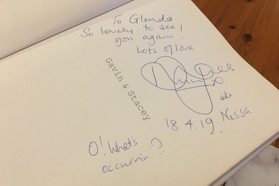 A picture of Ruth Jones signature and note in one of Glenda's books, dated 18th April 2019
