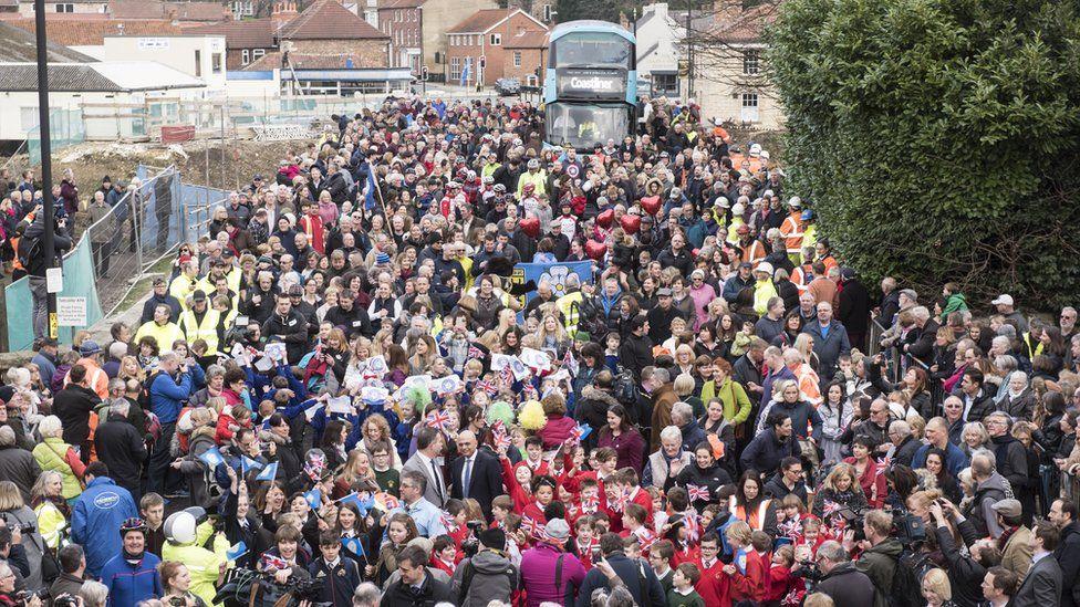 Crowds on Tadcaster Bridge