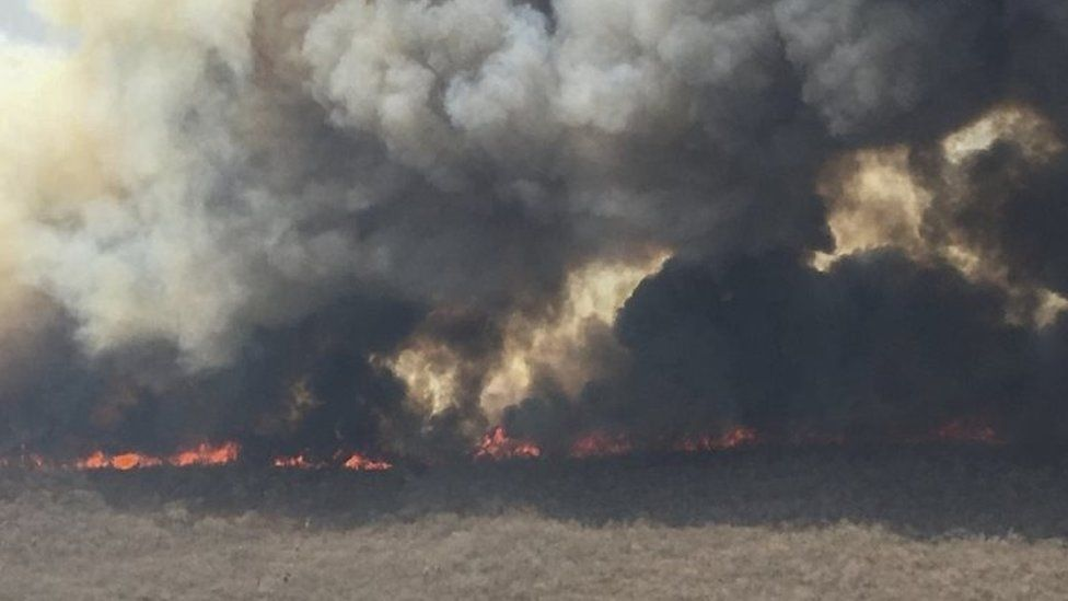 File photo from 9 September shows the extent of the blaze in the Chiquitania region