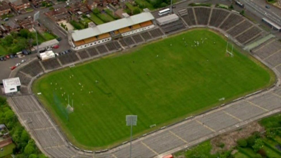 Aerial view of the old Casement Park stadium