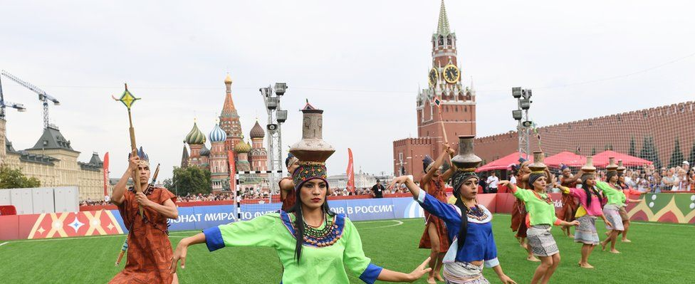 Performers take part in Peru Day at the FIFA World Cup Football Park in the Red Square in Moscow, Russia, 24 June 2018