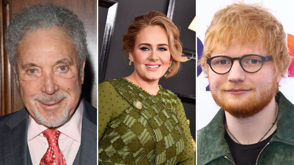 A composite image of the singers Sir Tom Jones, Adele and Ed Sheeran